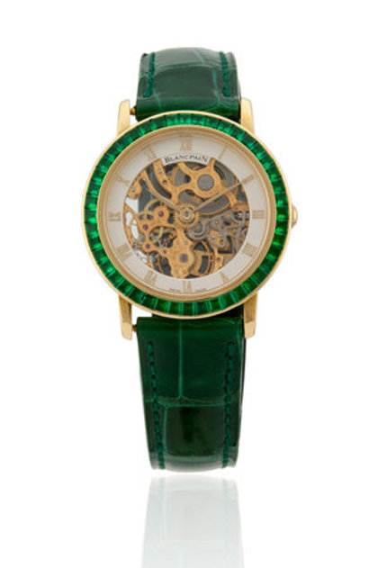 BLANCPAIN LADIES ULTRA THIN SKELETON WITH EMERALD BAGUETTE BEZEL