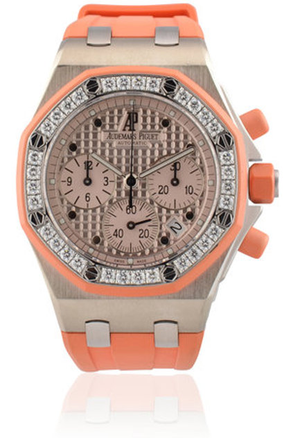 AUDEMARS PIGUET LADIES ROYAL OAK OFFSHORE WHITE GOLD IN ORANGE