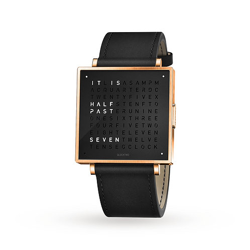 QLOCKTWO 39mm Rose Black Wristwatch