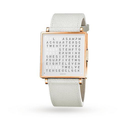 QLOCKTWO 35mm Rose Fine Grain White Lady Wristwatch