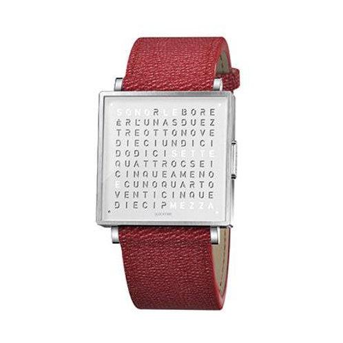 QLOCKTWO 35mm Pure White Fine Grain Red Lady Wristwatch