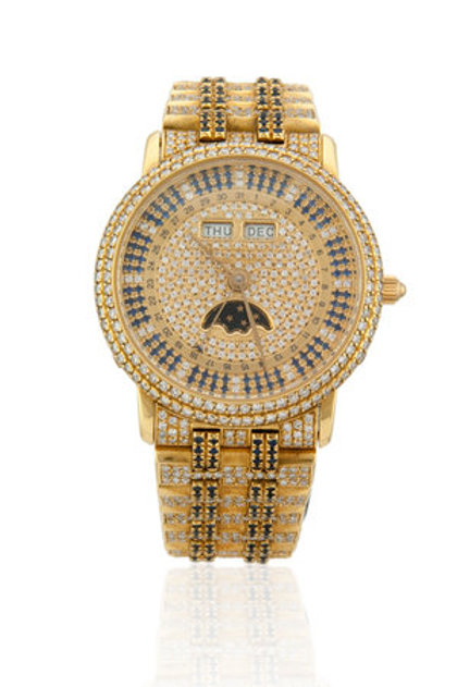 BLANCPAIN YELLOW GOLD GENTS MOONPHASE WITH SAPPHIRES AND DIAMONDS