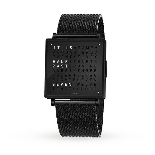 QLOCKTWO 35mm Black Steel Lady Wristwatch