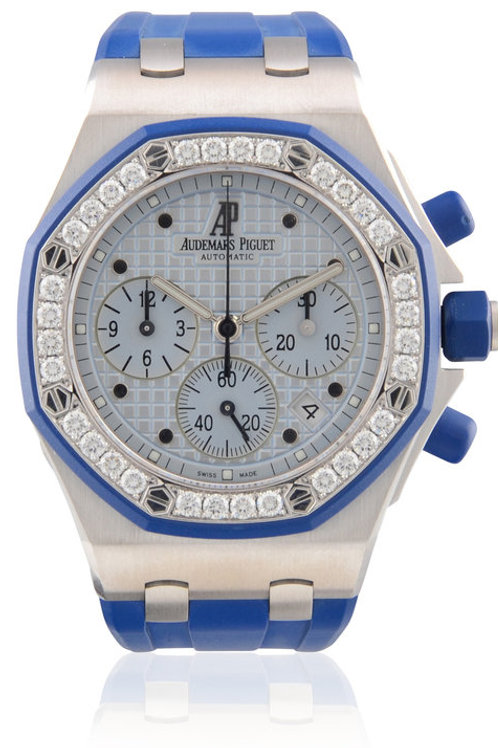 AUDEMARS PIGUET LADIES ROYAL OAK OFFSHORE WHITE GOLD IN BLUE