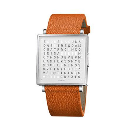 QLOCKTWO 35mm Pure White Fine Grain Orange Lady Wristwatch