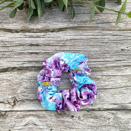 Enchanted Garden Blue & Lilac Hair Scrunchie