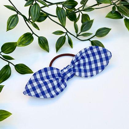 Blue Gingham Mini Knot Hair Tie