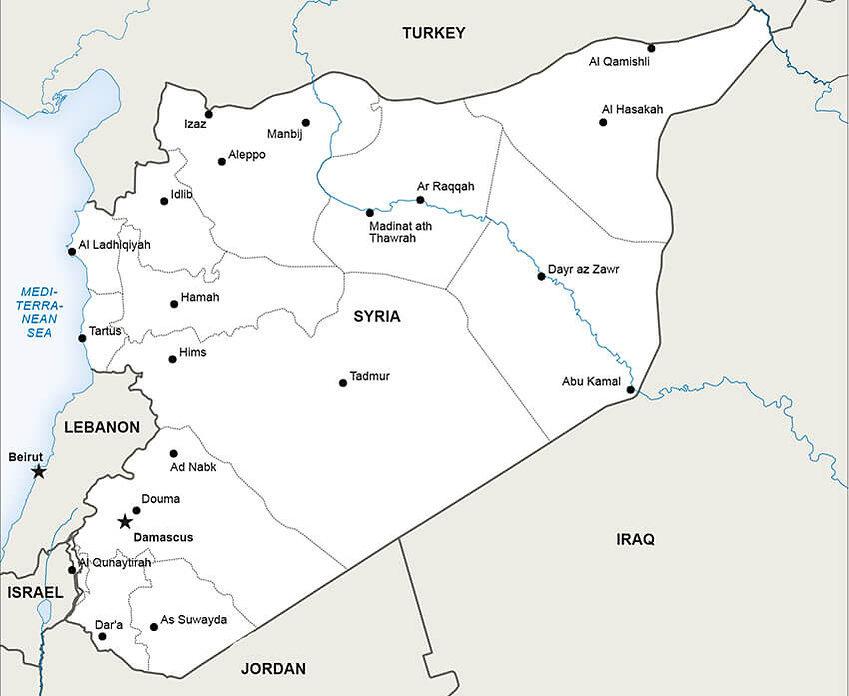mapa siria guerra civil