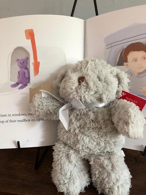 "Grey 9"" Teddy Bear & Book - SAVE"