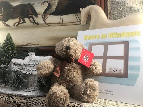 """Pale brown 10"""" Teddy bear plus a book"""
