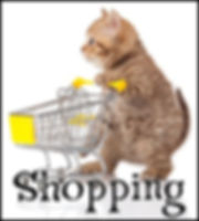 Online Shopping. Pet Beds, Dog and Cat Figurines, and Clothing.