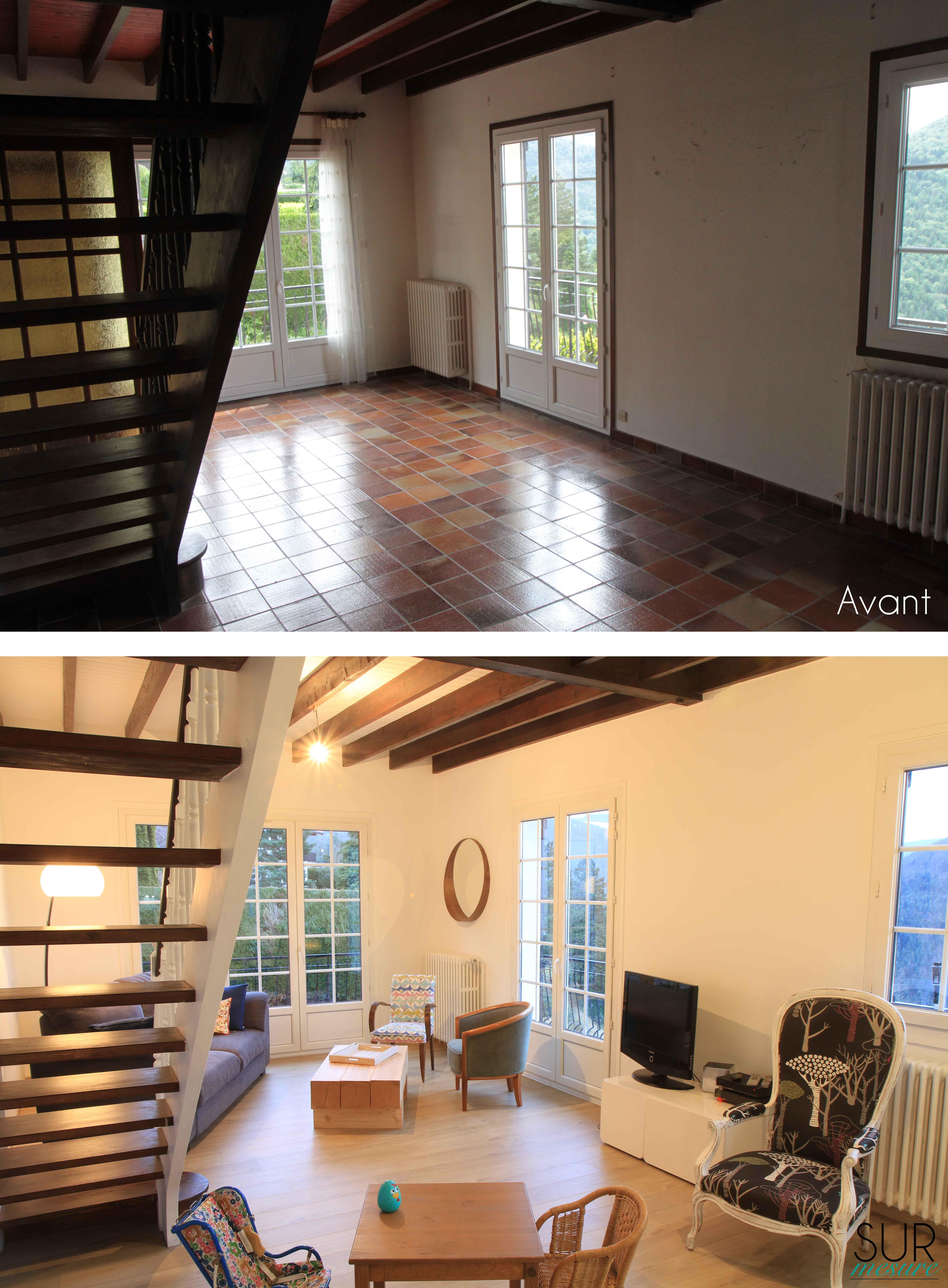 Le salon avant/après