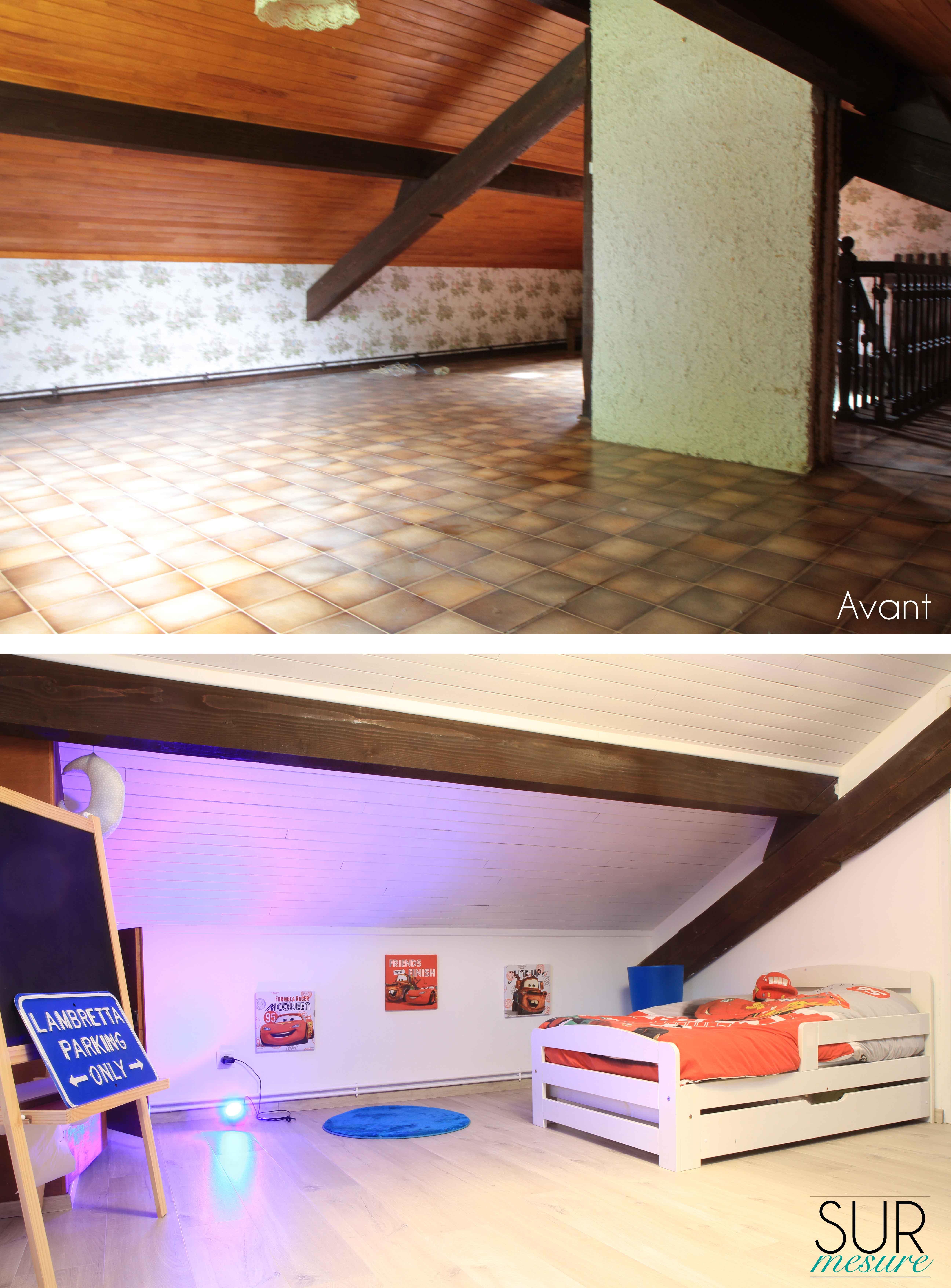 La chambre du garçon avant/après