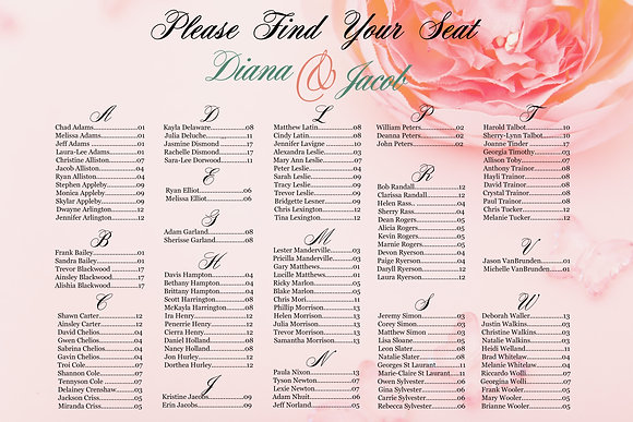 Seating Chart - Landscape Peonies by Last Name