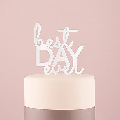 """Best Day Ever"" Cake Topper - White"
