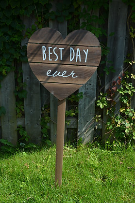 """Best Day Ever"" Heart Wood Sign"