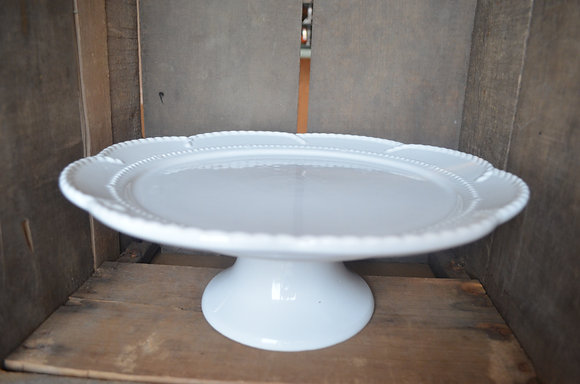 White Cake Plate - Scalloped Edge