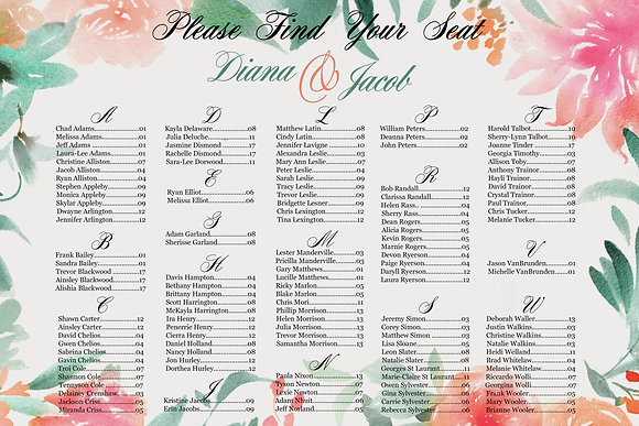 Seating Chart - Landscape Floral