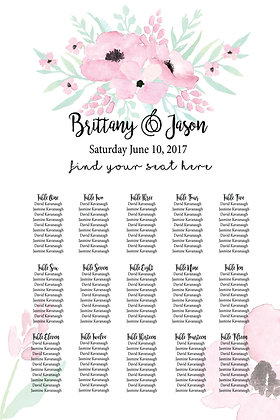Seating Chart - Portrait Pink & White