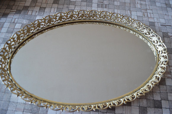 Mirrored Tray - Oval - Claw Foot