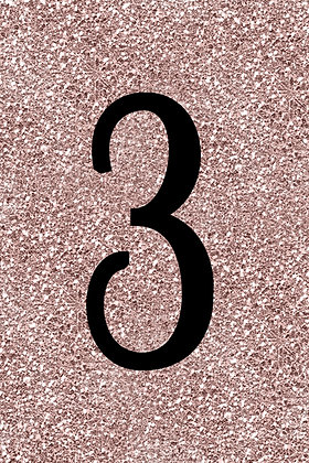 Rose Gold Glitter Table Numbers
