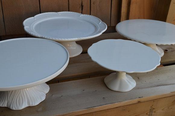 "White Cake Plate - ""Tree Trunk"" Base"