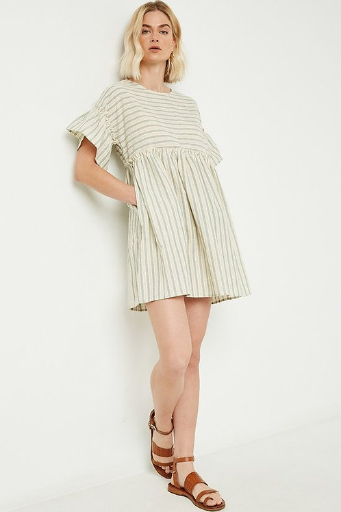 Striped Ruffled Sleeve Swing Dress
