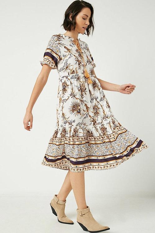 Tasseled Paisley Floral Print Dress
