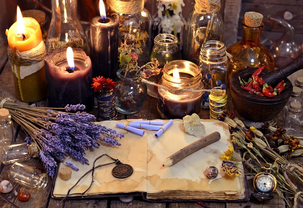 Open book with healing herbs, lavender f