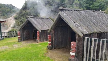 Replica whare (houses) at Whakarewarewa