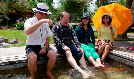 Foot soaking in geothermal waters