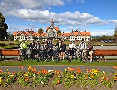 Cycling group Government Gardens. Rotorua Bath house