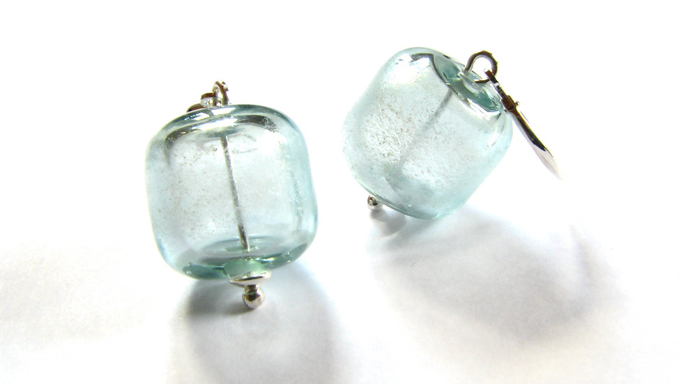 Boucles d'oreilles Bleu Gris Givré