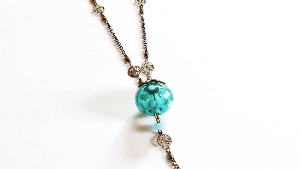 Collier Médaillon Turquoise à pois
