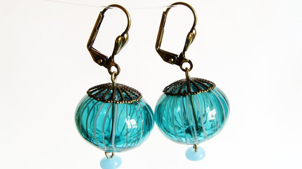 Boucles d'Oreilles Filigrane Bleu
