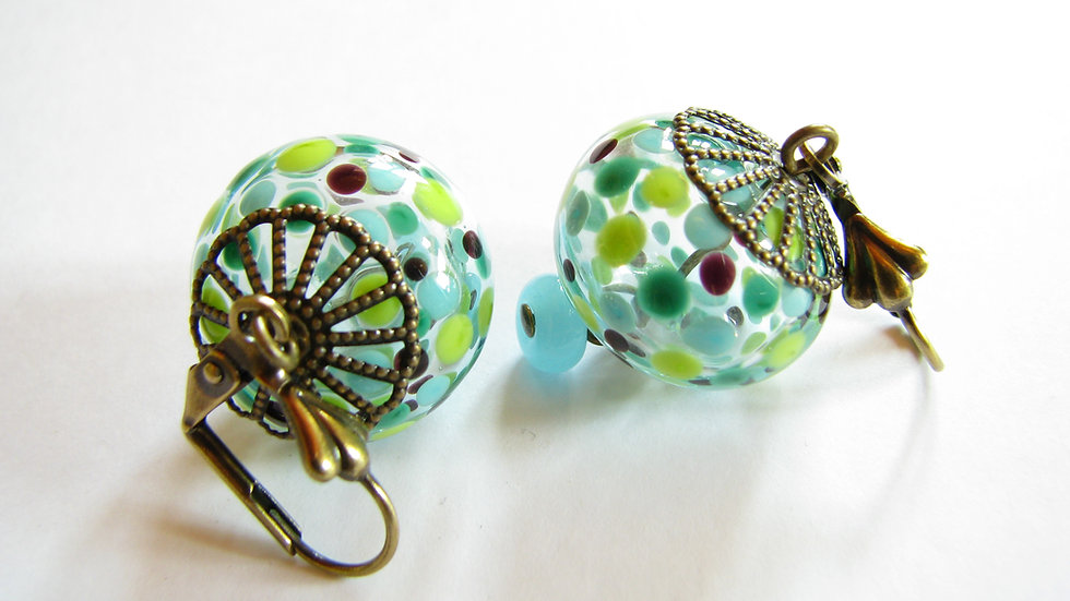 Boucles d'Oreilles pointillés vert