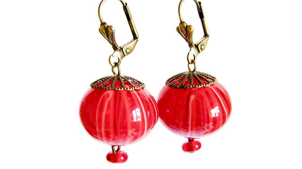 Boucles d'Oreilles Filigrane Rouge