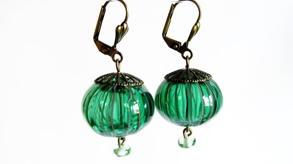 Boucles d'Oreilles Filigrane Vert