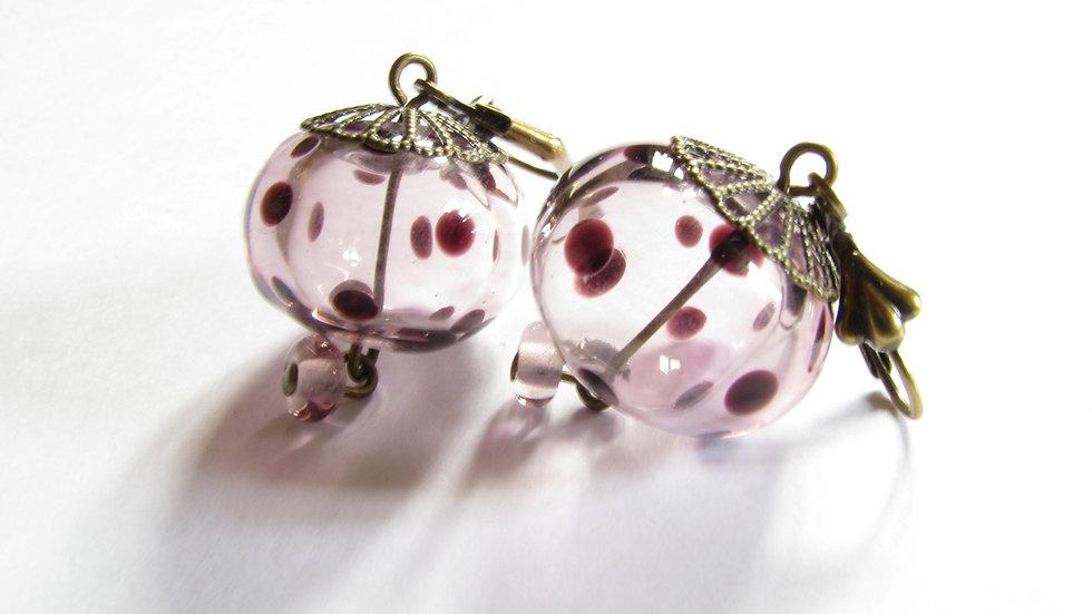 Boucles d'Oreilles Prunes à pois