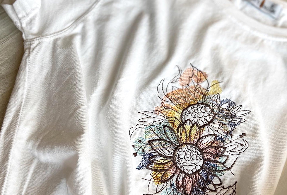 Embroidered Sunflowers T-shirt