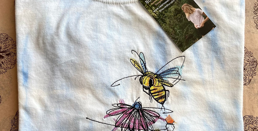 Bumblebee on Flower Embroidered Tie Dye T-shirt