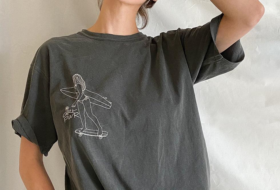 Girl Power Embroidered Boyfriend Tee