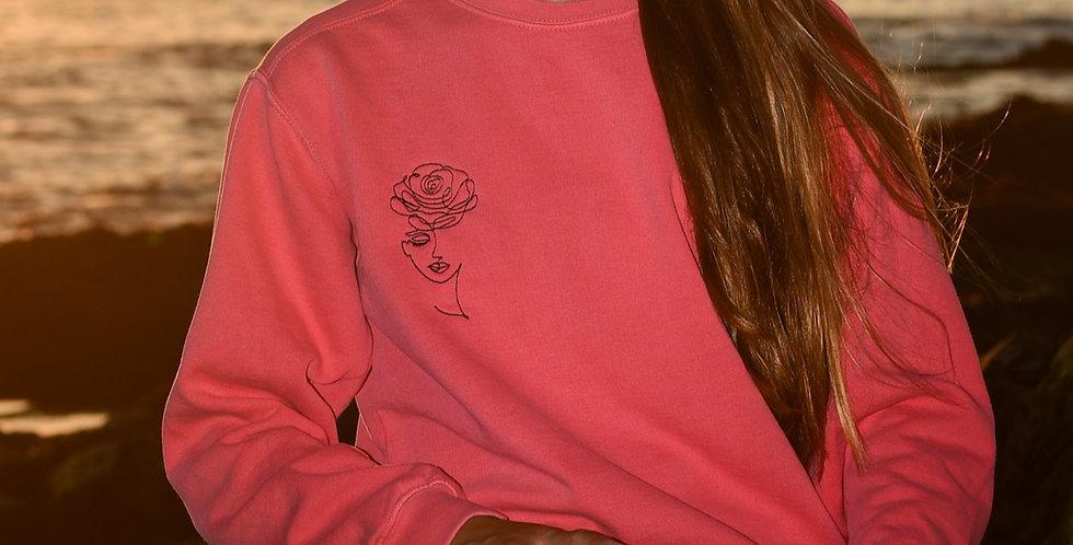 """Rose"" Handmade Embroidered Sweatshirt"