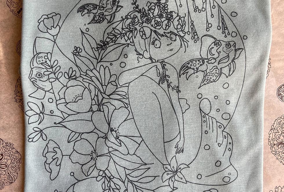 Hand-Drawn Mermaid Art printed on Blue Tee