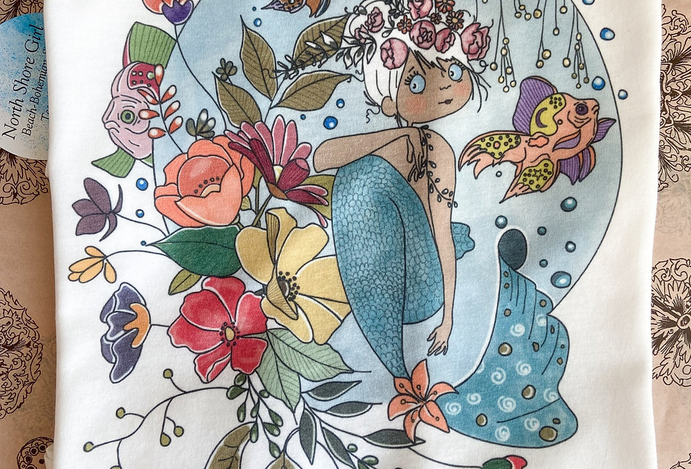 Hand-drawn Whimsical Mermaid Tank