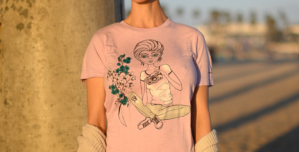 Photographer Girl Floral T-Shirt