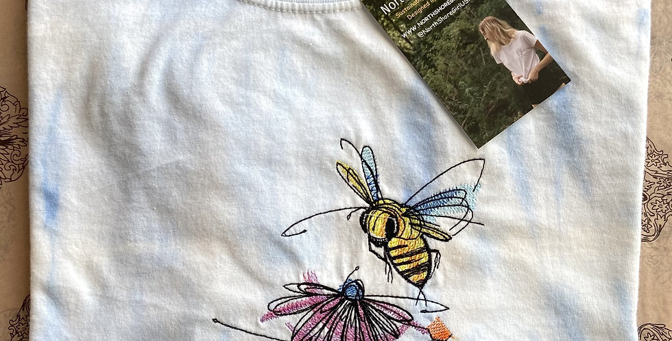 Bumblebee Embroidery on Tie Dye T-shirt