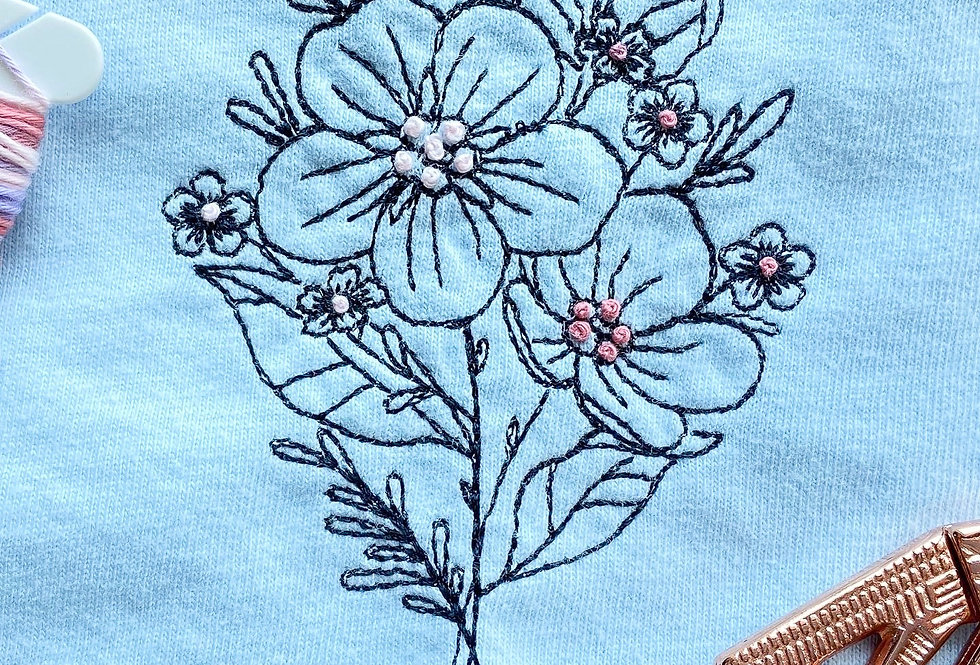 Artist Improvised Floral Embroidery T-shirt