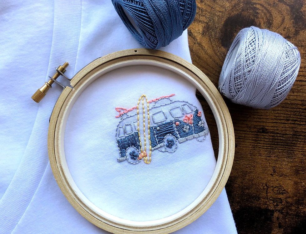 Handmade in USA Hand-embroidered VW Surf Bus V-neck