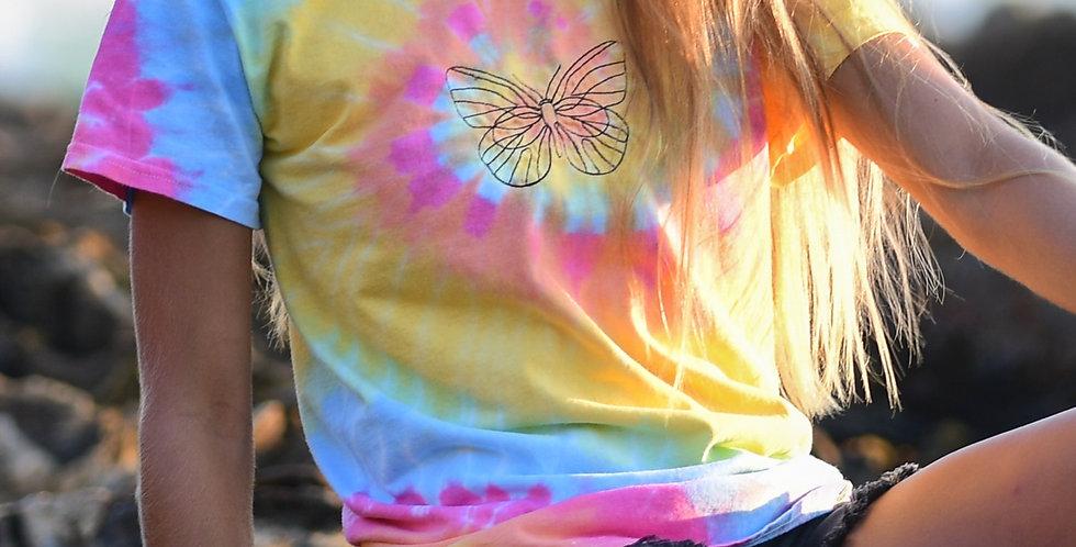 Butterfly Embroidery Tie- Dye Tee